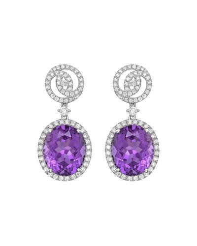 Signature 18k White Gold Diamond & Amethyst Drop Earrings