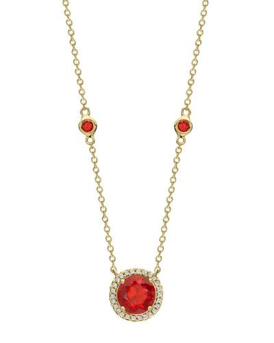 Grace 18k Gold Fire Opal & Diamond Pendant Necklace