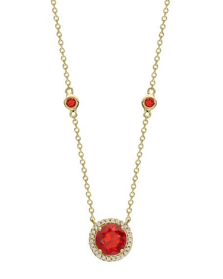 KIKI MCDONOUGH Grace 18K Gold Fire Opal & Diamond Pendant Necklace in Red