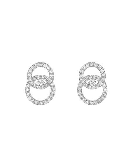 KIKI MCDONOUGH 18K White Gold Interlocking Diamond Stud Earrings in White/Gold