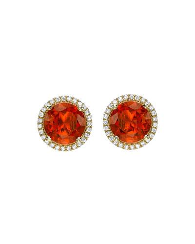 Grace Fire Opal & Diamond Halo Stud Earrings