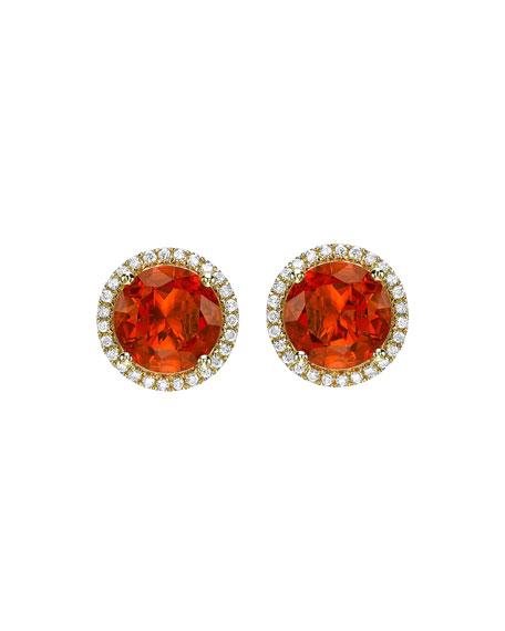 KIKI MCDONOUGH Grace Fire Opal & Diamond Halo Stud Earrings in Red
