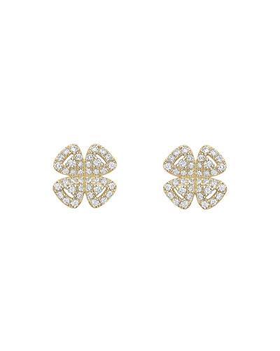18k Gold Diamond Clover Stud Earrings