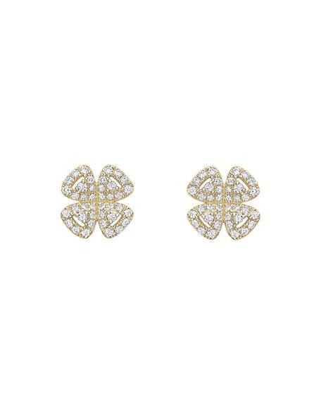 KIKI MCDONOUGH 18K Gold Diamond Clover Stud Earrings