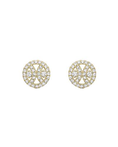 18k Gold Diamond Round Stud Earrings