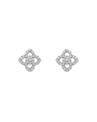 18k White Gold Diamond Pointed Flower Stud Earrings