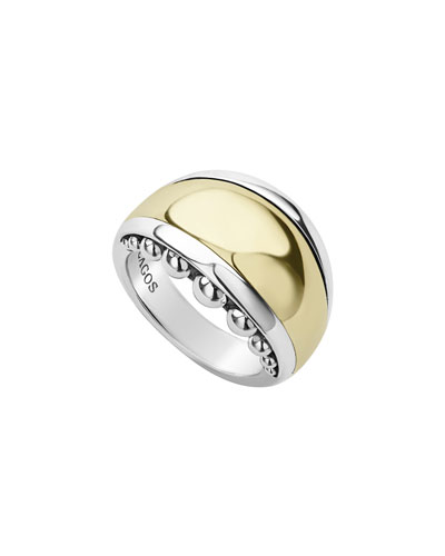 High Bar Domed Ring w/ 18k Gold