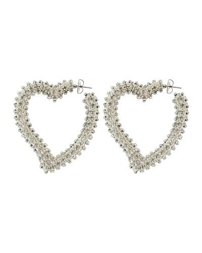 Crystal Heart Hoop Earrings