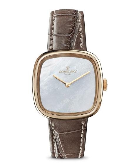 Gomelsky 32mm Eppie Mini Watch w/ Gray Alligator Strap