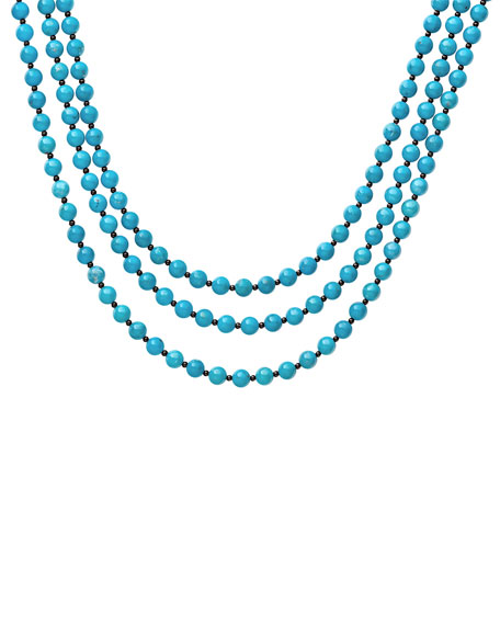 Lagos Accessories CAVIAR ICON 3-STRAND NECKLACE, TURQUOISE/ONYX