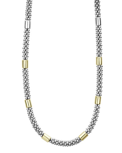 High Bar Caviar Necklace w/ 18k Gold  16L