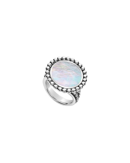Lagos Accessories MAYA ROUND 16MM INLAY RING, MOTHER-OF-PEARL