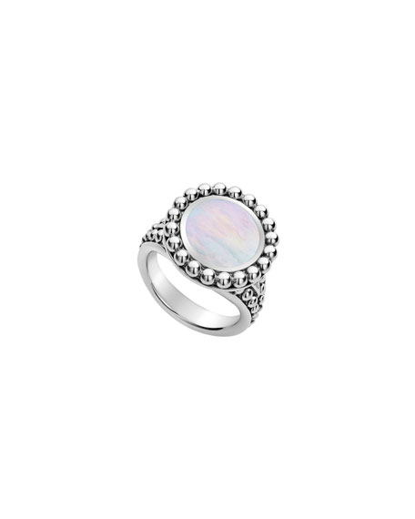 Lagos Accessories MAYA ROUND INLAY RING, MOTHER-OF-PEARL