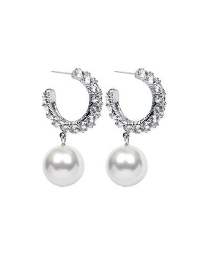 Bubble Pearl-Drop Hoop Earrings