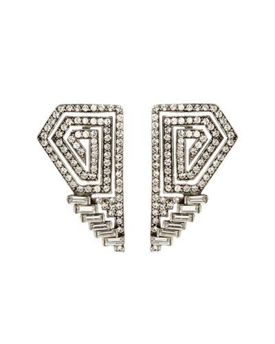 Crystal Deco Geometric Clip Earrings