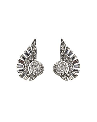 Crystal Deco Clip-On Earrings