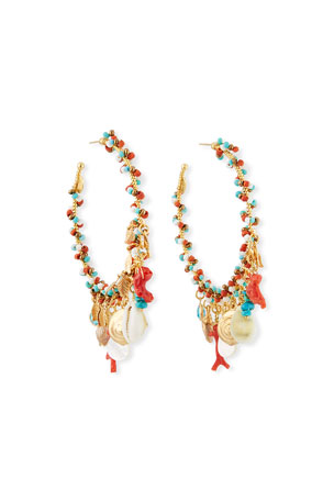 Gas Bijoux Pondichery Bead & Shell Hoop Earrings