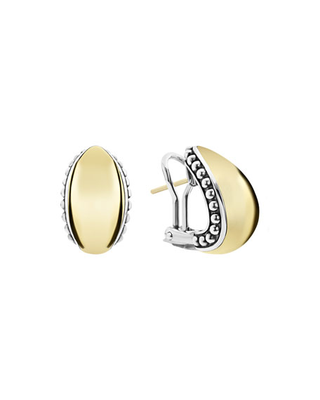 Lagos HIGH BAR DOMED HUGGIE EARRINGS W/ 18K GOLD