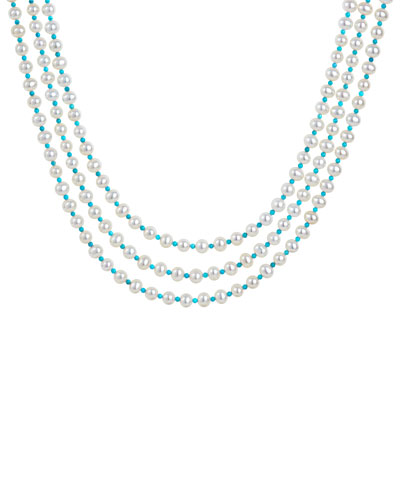 Caviar Icon 3-Strand Necklace  Pearl/Turquoise