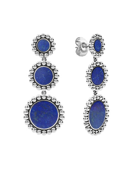 Lagos Accessories MAYA 3-DROP EARRINGS, LAPIS