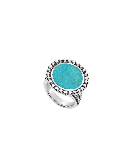 Lagos Accessories MAYA ROUND 16MM INLAY RING, TURQUOISE