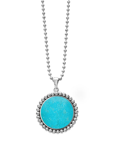Lagos Accessories MAYA 24MM INLAY PENDANT NECKLACE, TURQUOISE