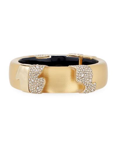 Crystal Encrusted Sectioned Hinge Bracelet  Gold