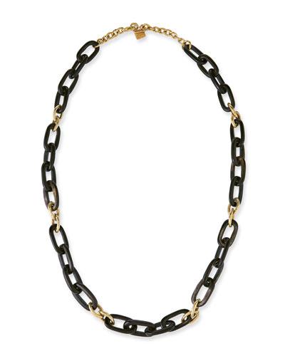 Manjano Dark Horn & Bronze Link Necklace