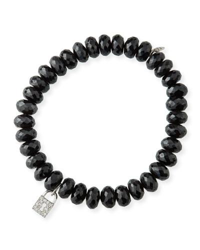 14k White Gold Diamond Keyhole & Spinel Bracelet