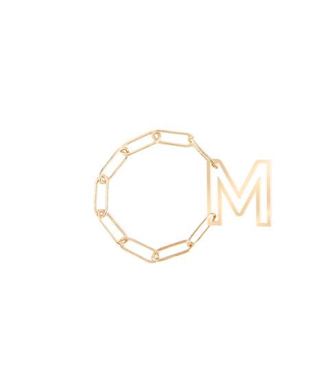K KANE Personalized 14K Gold Chain Letter Fidget Ring