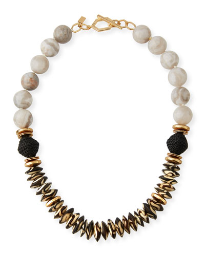 Agate  Bone & Leather Necklace  White/Black