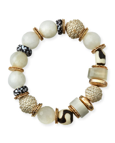 Bone & Leather Stretch Bracelet  Black/White