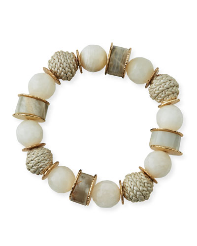Moonstone & Leather Stretch Bracelet  White