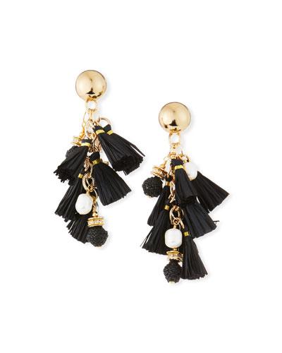 Pearl & Raffia Dangle Earrings  Black