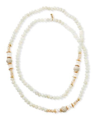 Long Moonstone & Leather Necklace  White