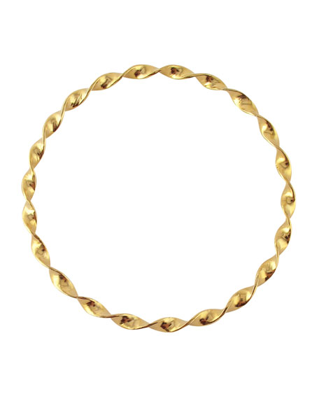 DEVON LEIGH Twisted Wave Bangle in Gold
