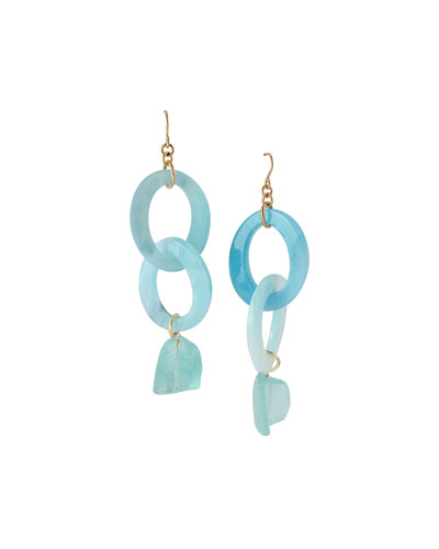 Raw Quartz Dangle Earrings, Blue