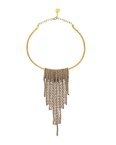 DEVON LEIGH Mesh Crystal Bar Collar Necklace in Gold