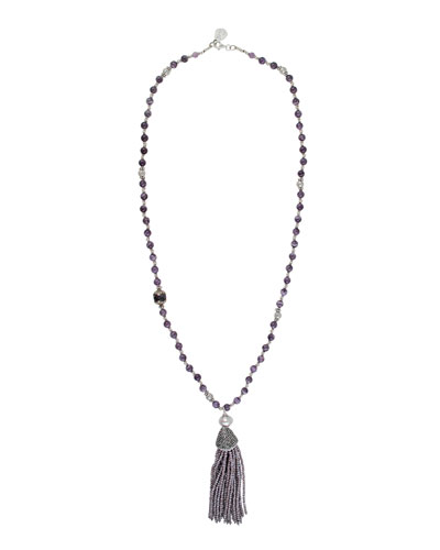 Amethyst Tassel Pendant Necklace, Purple