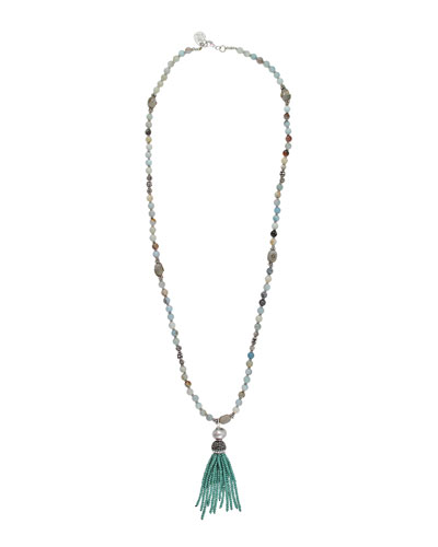Amazonite & Labradorite Tassel Necklace