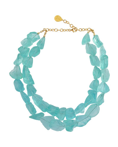 Double-Strand Raw Quartz Necklace  Blue