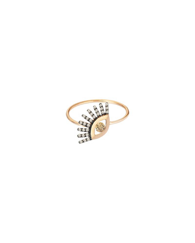 14k Rose Gold Protect Me Evil Eye Diamond Ring