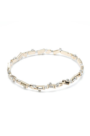 Alexis Bittar Pyrite & Crystal Baguette Bangle