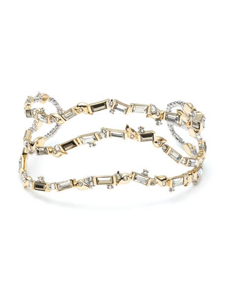 Crystal Baguette Sculptural Cuff Bracelet in Gold