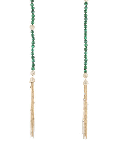 Crystal & Malachite Sautoir Tassel Necklace