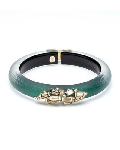Crystal Baguette Cluster Hinge Bracelet, Green