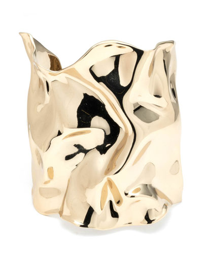 Crumpled Gold Wide Cuff