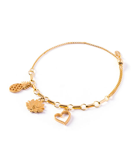 Alex and Ani Love Trio-Charm Bracelet, Gold Vermeil