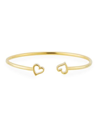 Heart Kick Cuff Bracelet, Gold Vermeil