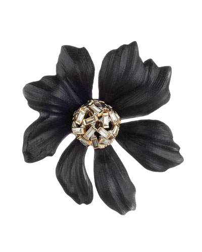 Crystal Baguette Cluster Flower Pin